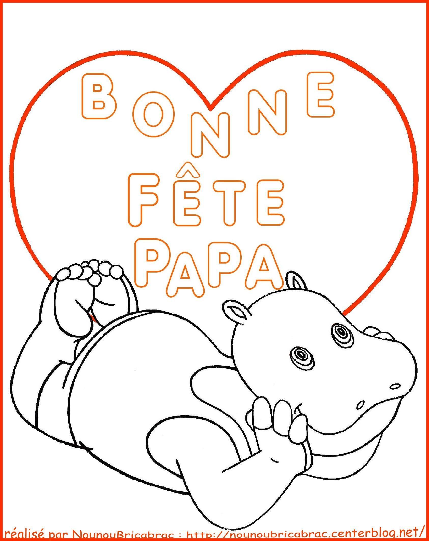 Hippopotame avec un coeur *Bonne fête Papa*