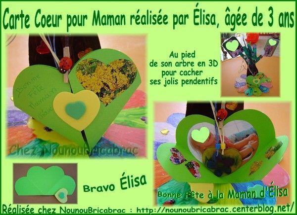 Carte Coeur pour Maman, réalisée par Élisa, âgée de 3 ans
