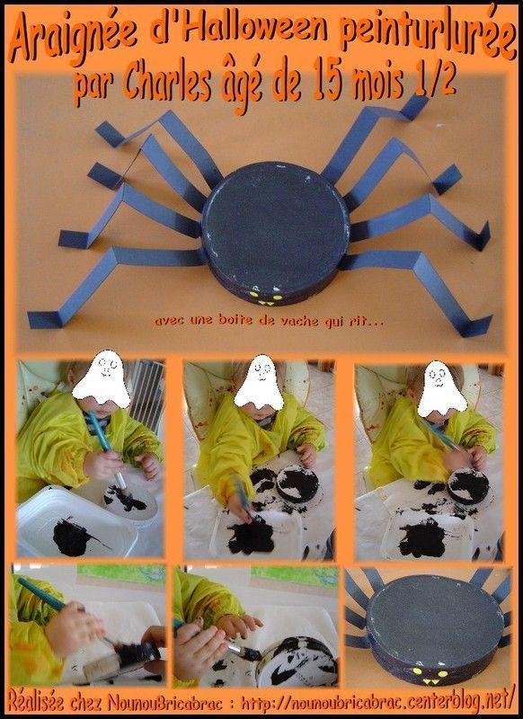 Araignée d'Halloween peinturlurée par Charles, 15 mois 1/2