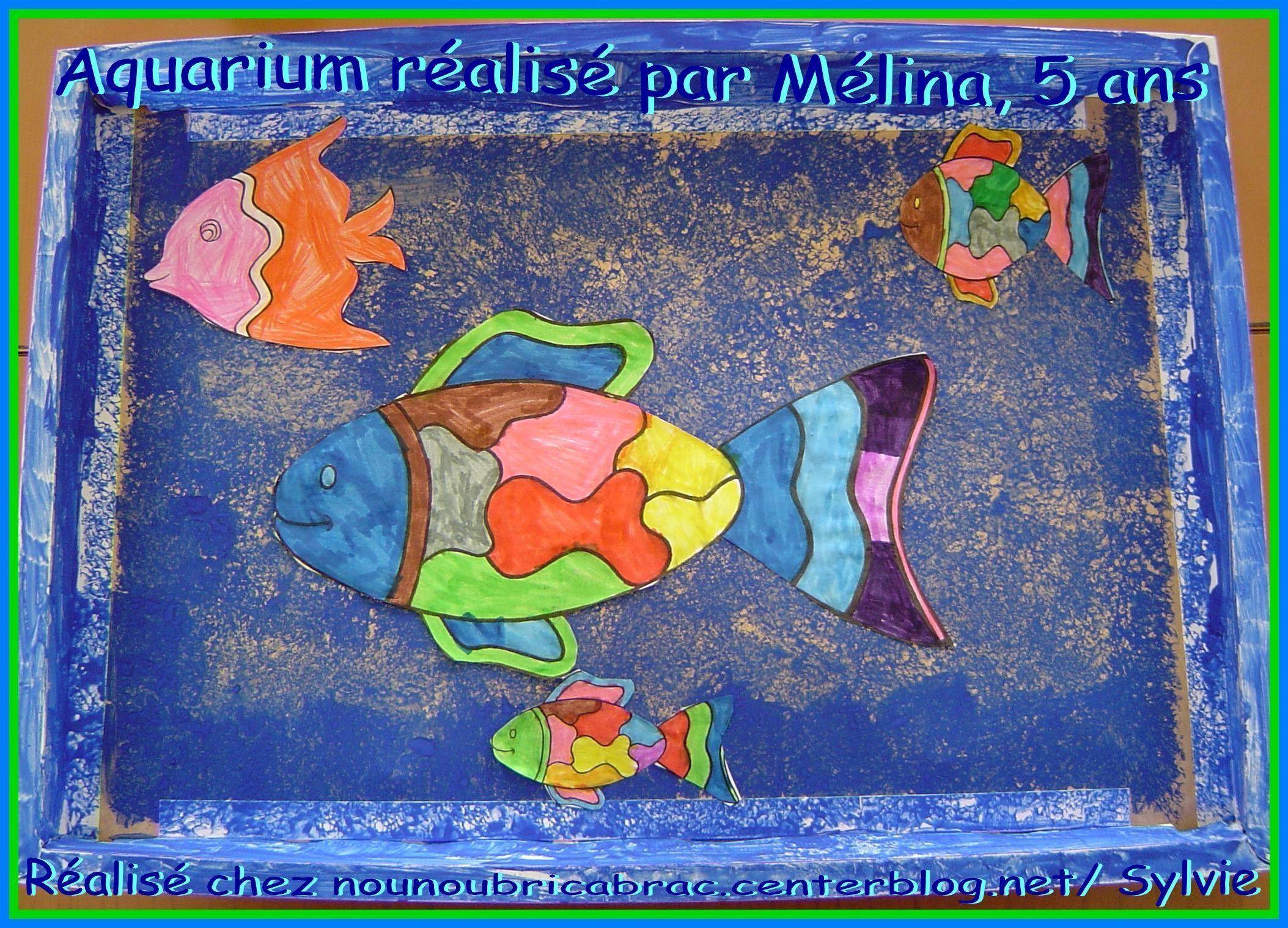Un Aquarium avec de jolis poissons... réalisé par Mélina, 5 ans