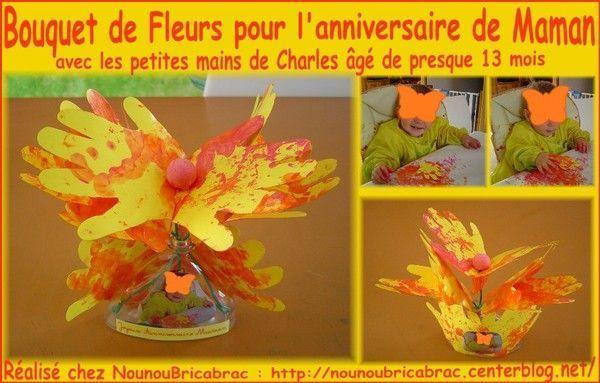 Bouquet de fleurs-mains pour Maman réalisé par Charles