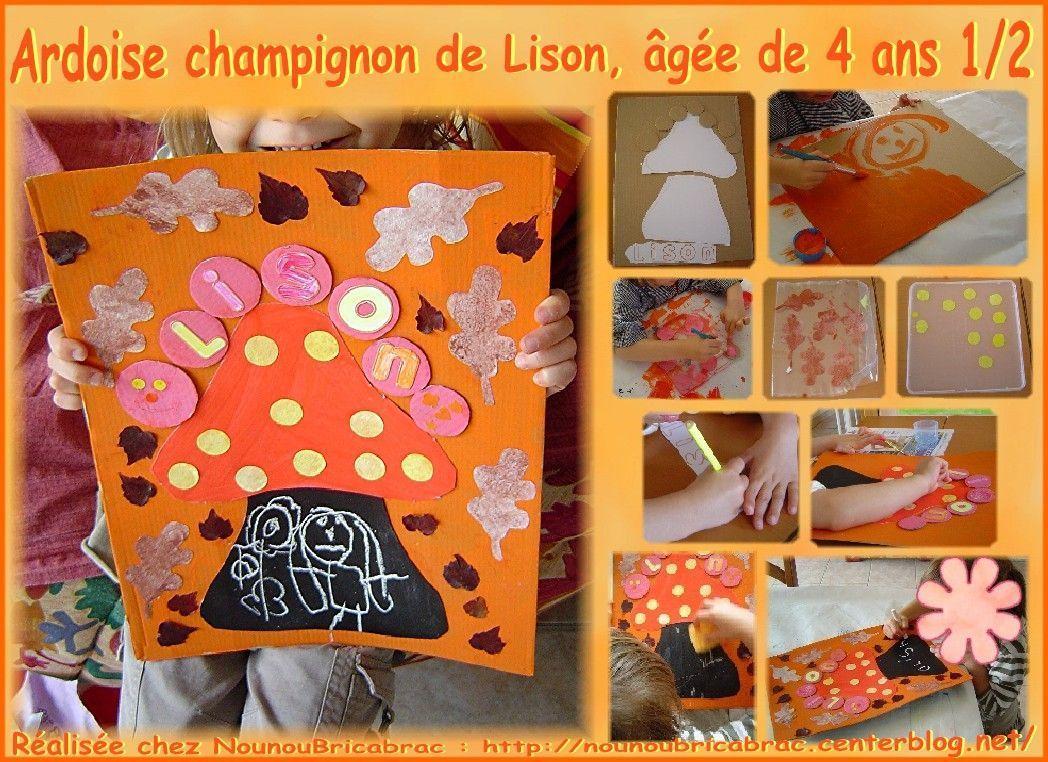 Ardoise en forme de champignon réalisée par Lison