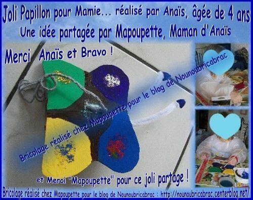 Joli Papillon d'Anaïs pour sa Mamie... chez MaPoupette