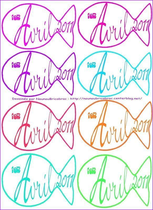 Poissons d'Avril à colorier ou décorer... une planche de 8