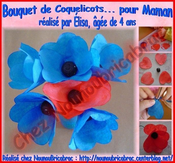 Bouquet de Coquelicots pour Maman... lisa, 4 ans