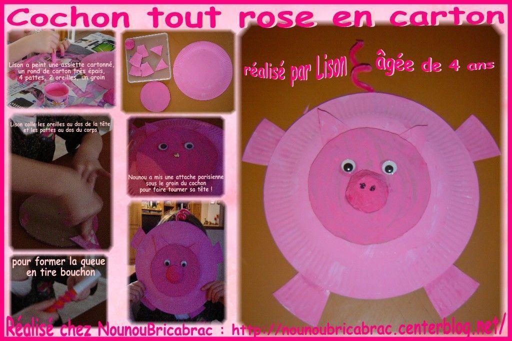 Cochon Rose en carton... réalisé par Lison, 4 ans