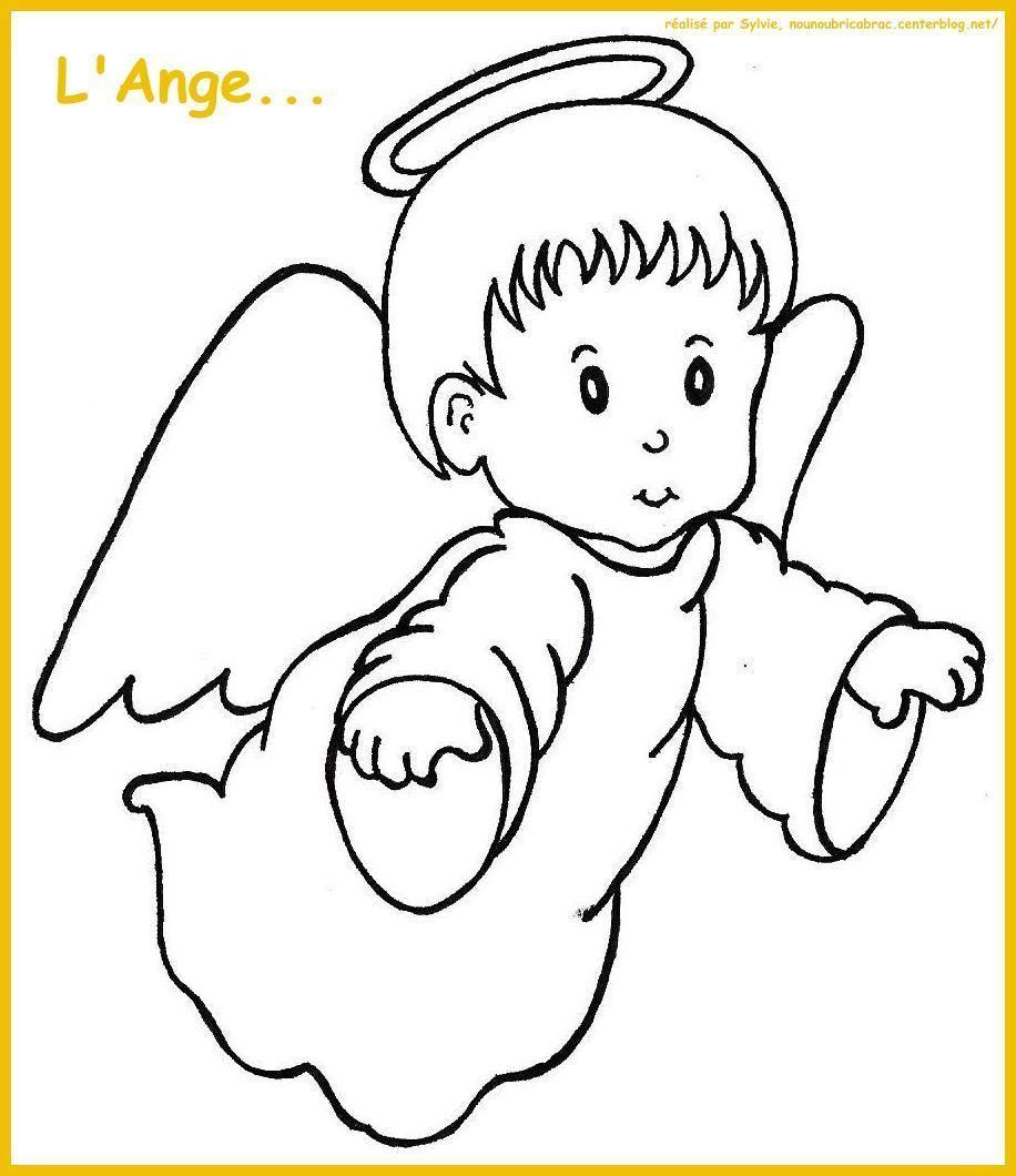 L'Ange tourné vers la droite... à colorier