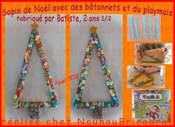 Sapin de Noël avec bâtonnets et playmaIs - Batiste