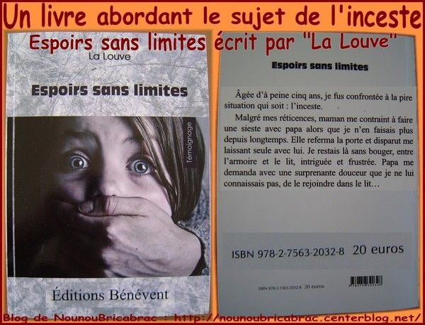 &quot;Espoirs sans limites&quot;... un livre abordant l'inceste