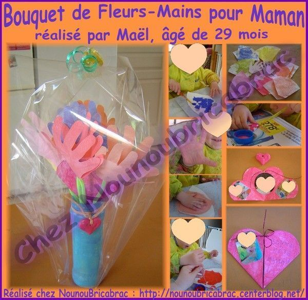 Bouquet de fleurs-mains pour Maman ralis par Mal, 29 mois