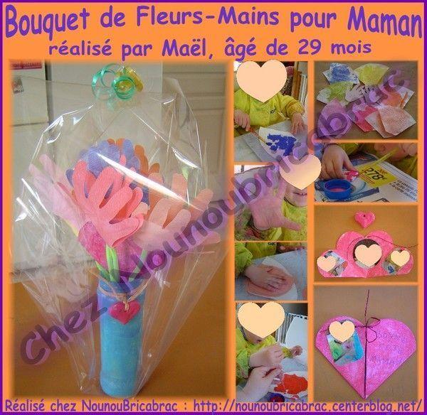 Bouquet de fleurs-mains pour Maman réalisé par Maël, 29 mois