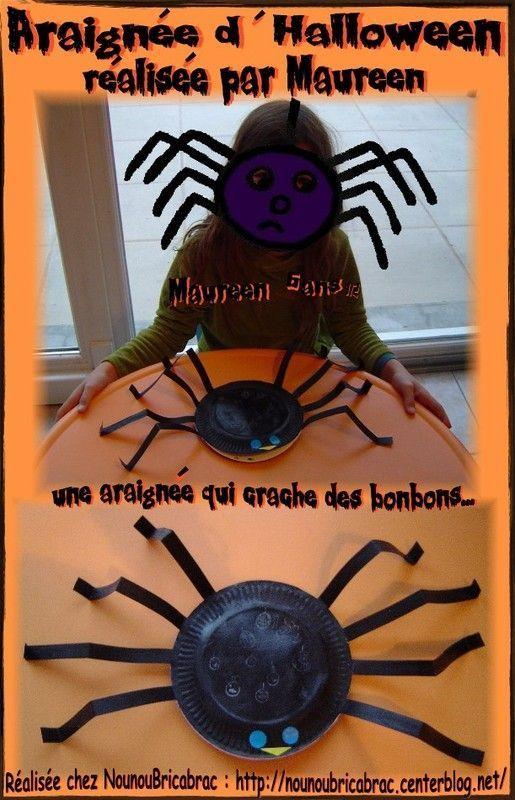 Araignée d'Halloween réalisée par Maureen, presque 7 ans