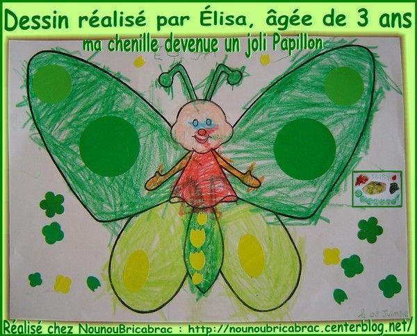 Papillon... dessin réalisé par Élisa, âgée de 3 ans