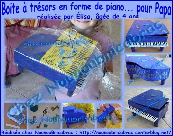 Boite  trsors en forme de piano... lisa, 4 ans