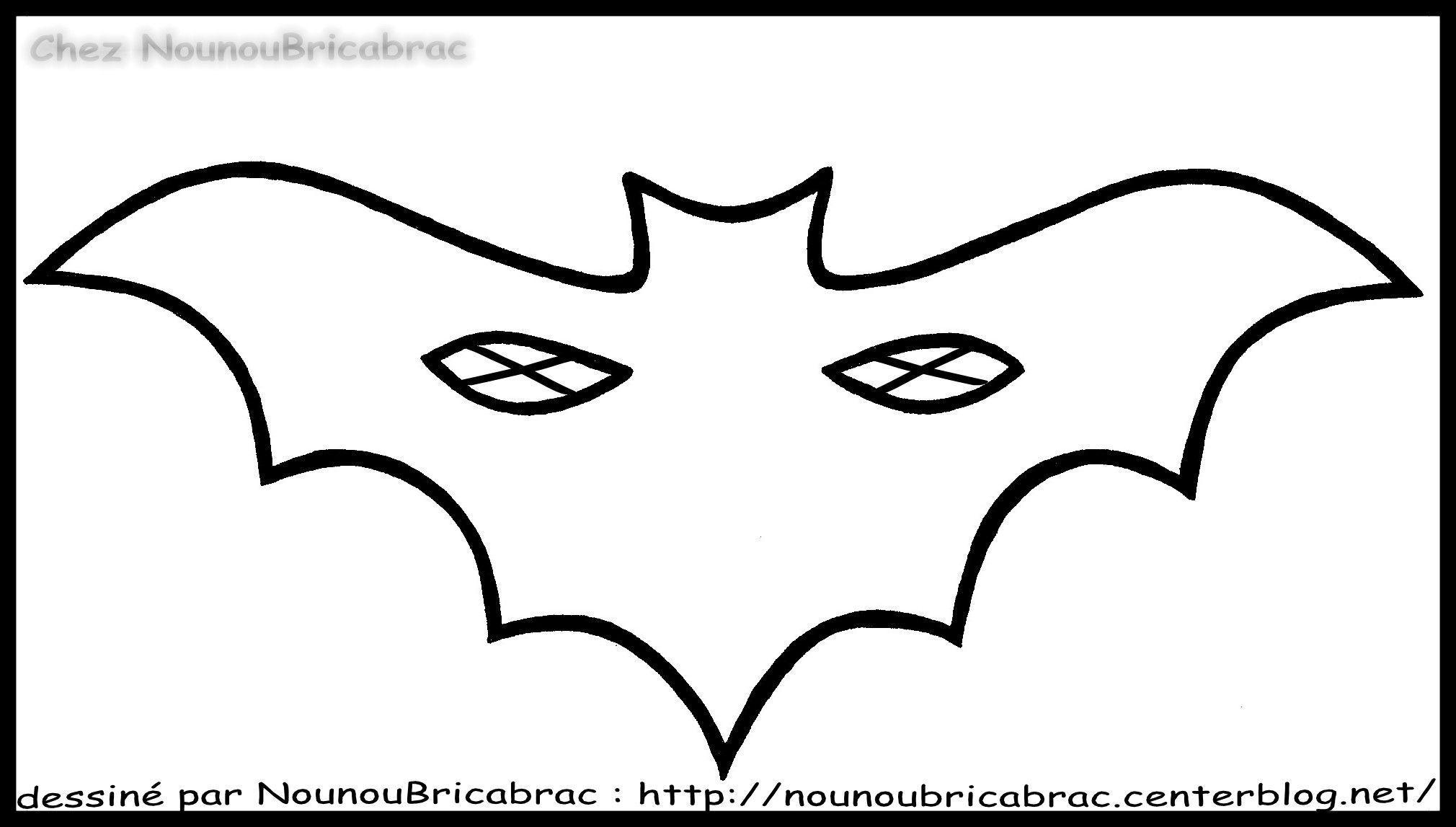 Masque de chauve souris r aliser - Masque halloween a colorier ...