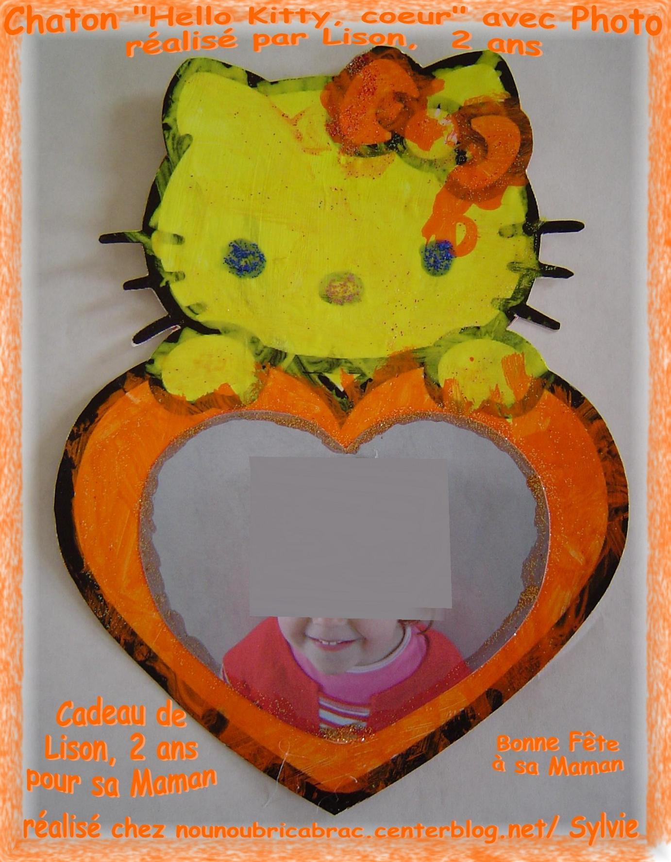 Chaton Hello Kitty Coeur avec Photo. réalisé par Lison, 2 ans... pour sa Maman