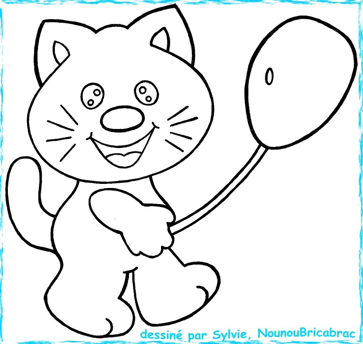 Chaton avec un ballon...  colorier