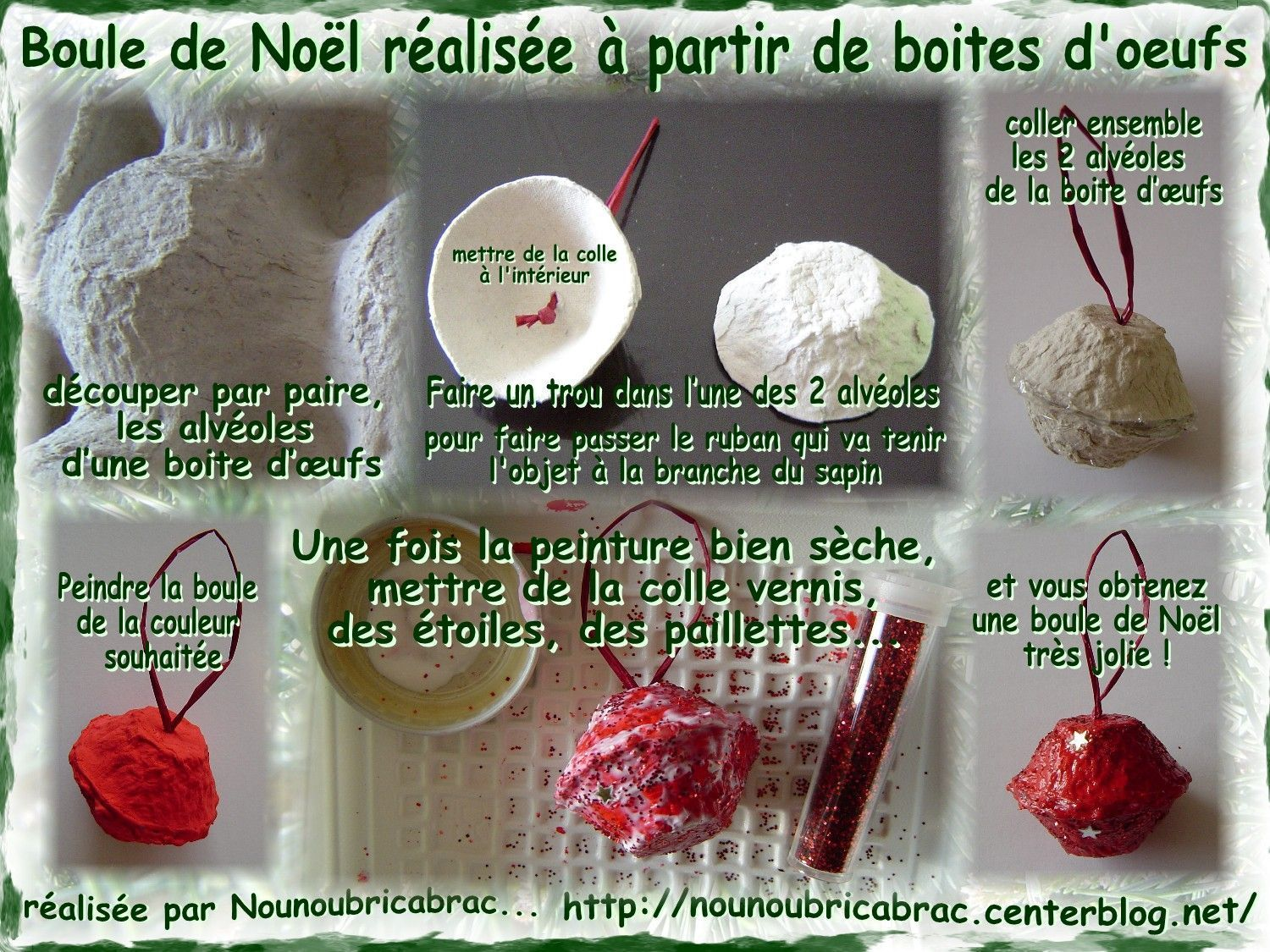 Boule de Nol ralise avec des boites dufs