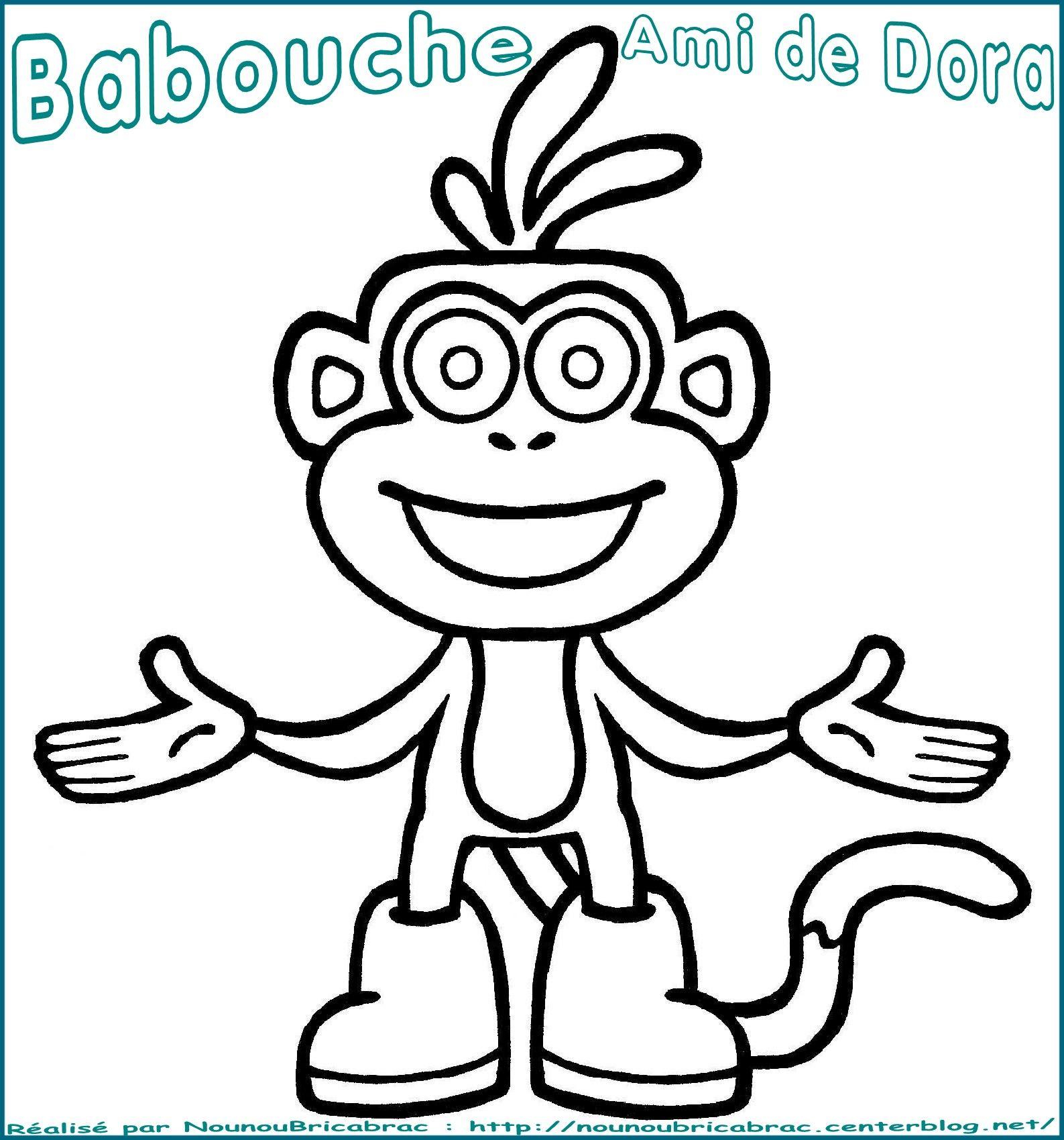 Babouche, le singe ami de Dora... à colorier