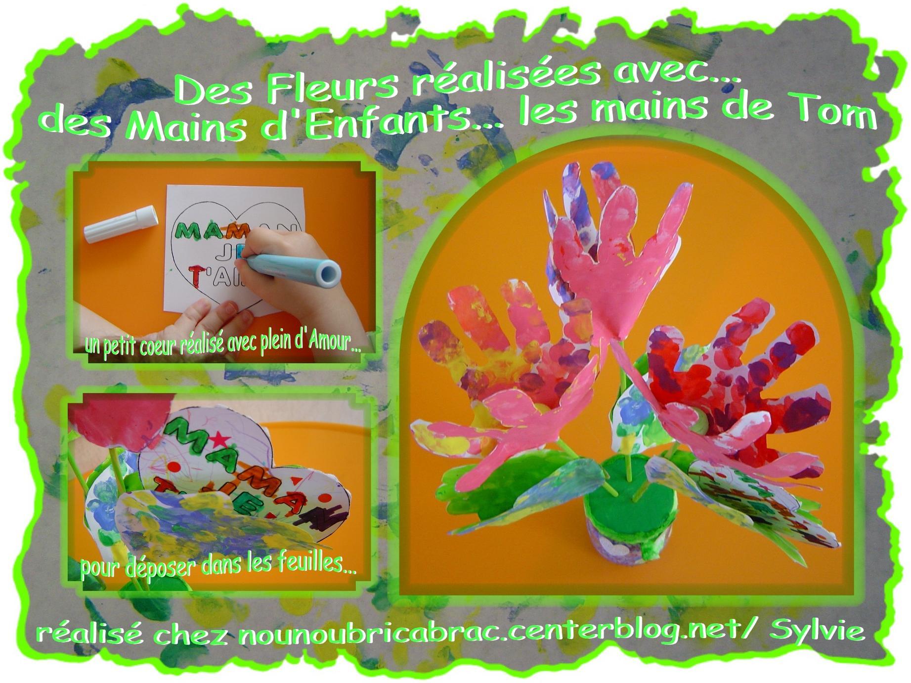 Des Fleurs réalisées avec des Mains d'Enfants... les Mains de Tom, 3 ans