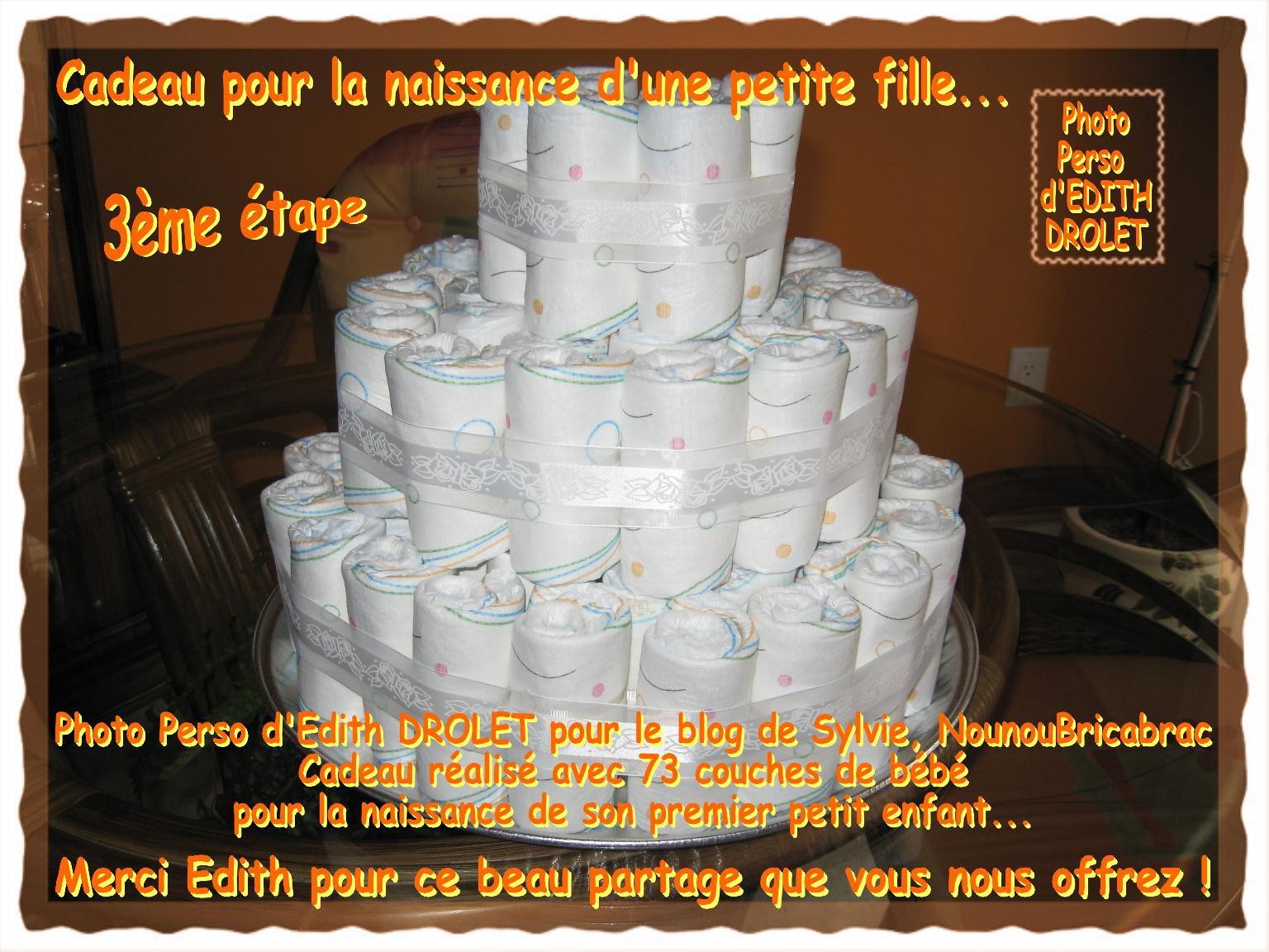 Gâteau - Cadeau pour la naissance d'une petite fille... 3ème étape, réalisé par Edith du Québec