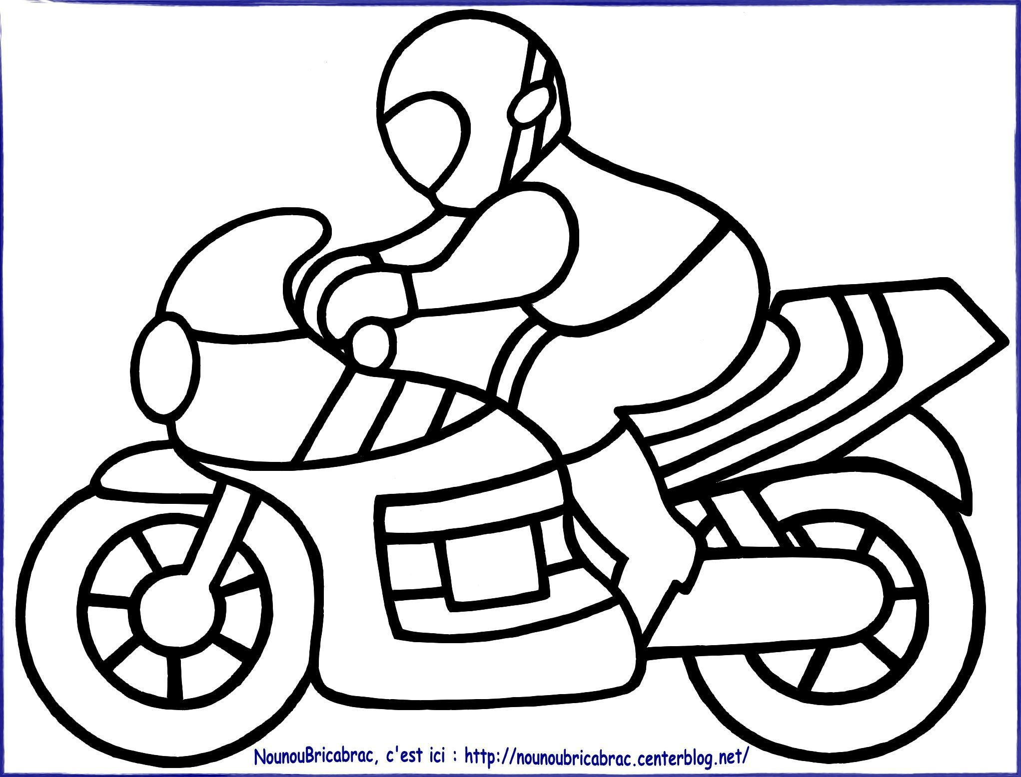 Coloriages transports - Dessin moto enfant ...