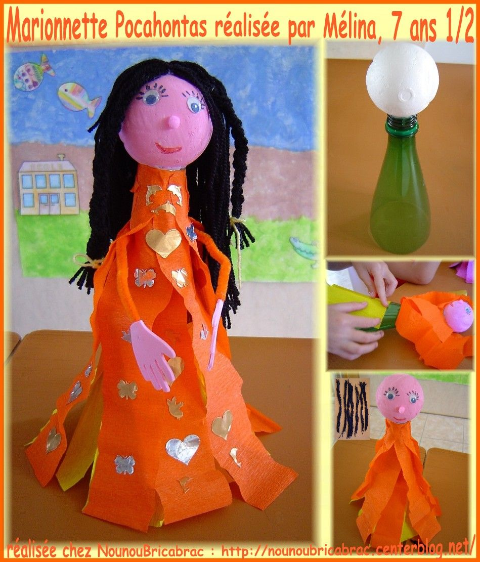 Marionnette *Pocahontas* ralise par Mlina, 7 ans 1/2