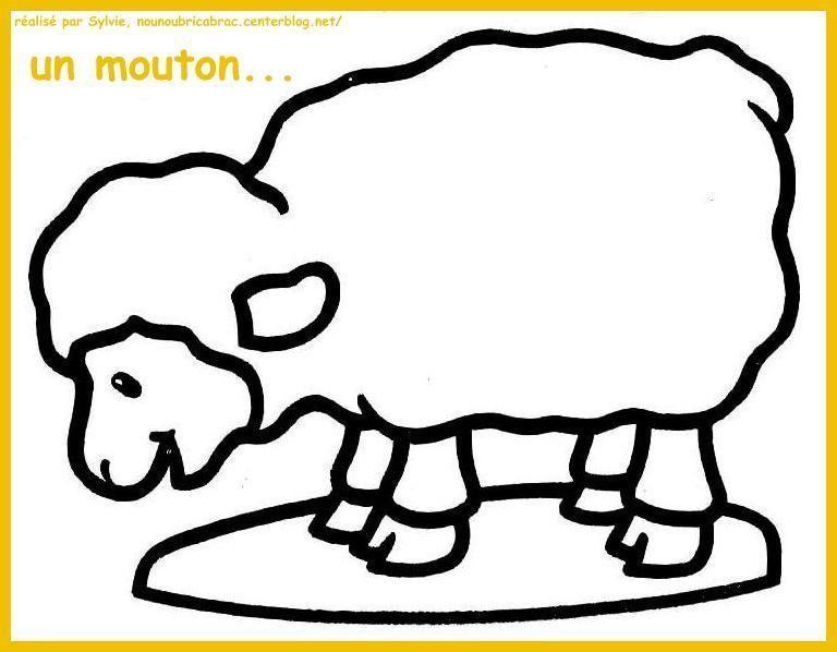 Mouton broutant l'herbe... à colorier