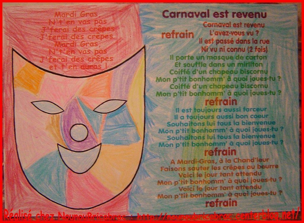 Carnaval est revenu... comptine pour enfants