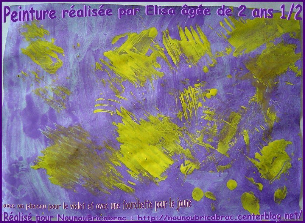 Peinture réalisée par Elisa âgée de 2 ans 1/2... avec pinceau et fourchette