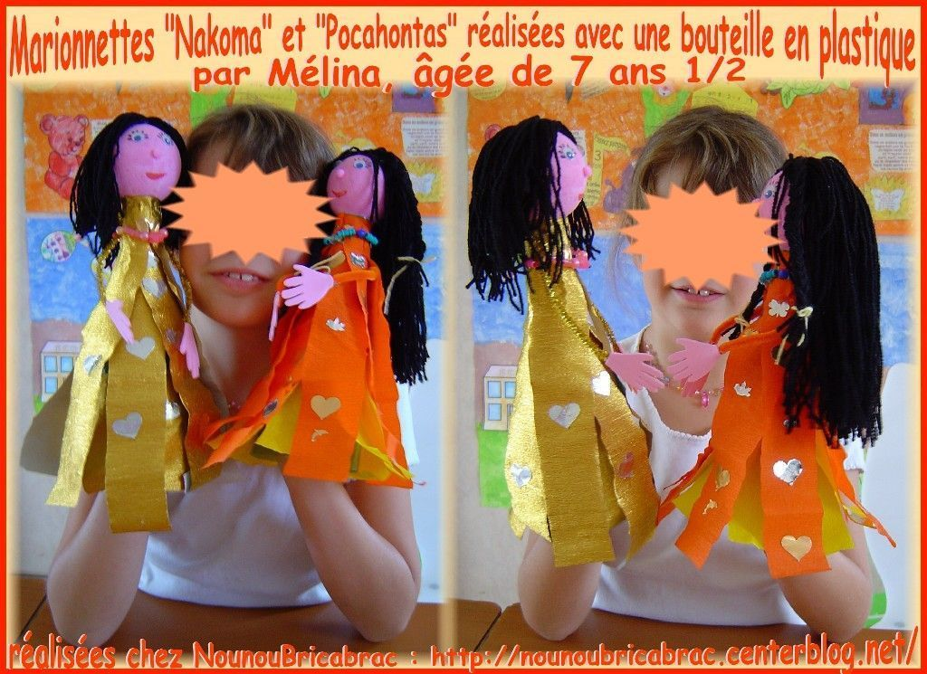 Marionnettes de *Nakoma* et de *Pocahontas* ralises par Mlina, 7 ans 1/2