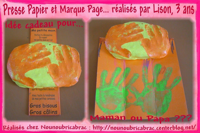 Presse Papier et Marque Page réalisés par Lison, 3 ans