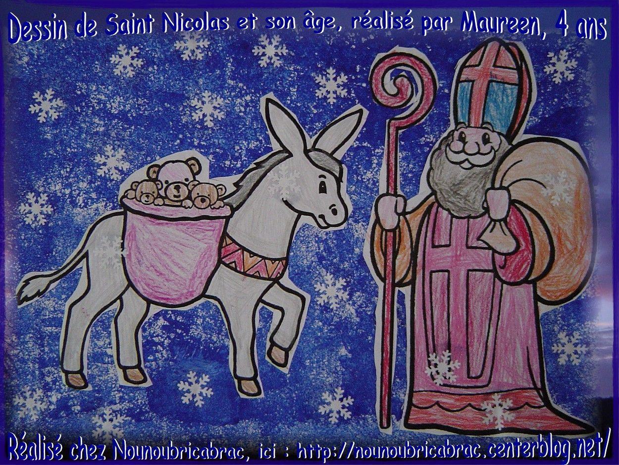 Saint Nicolas et son âne, représentés par Maureen, 4 ans