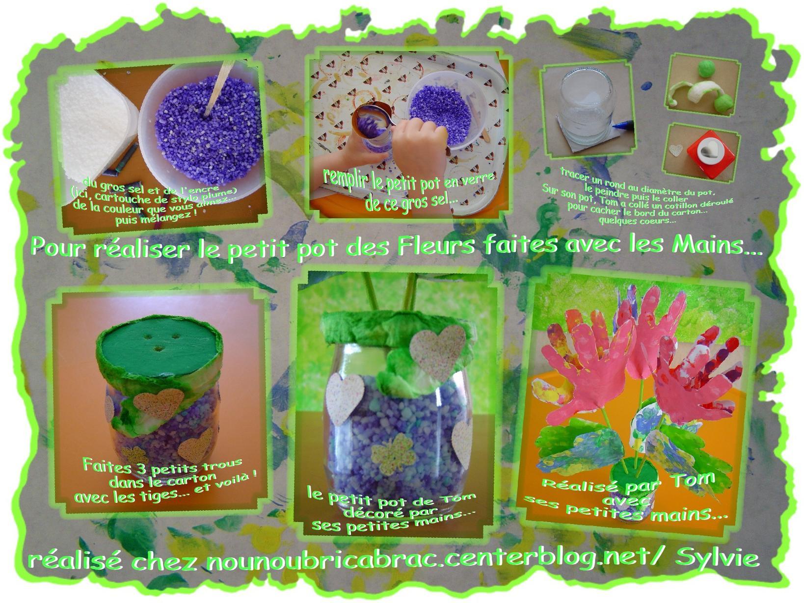 Petit Pot pour des Fleurs réalisées avec des Mains d'Enfants...