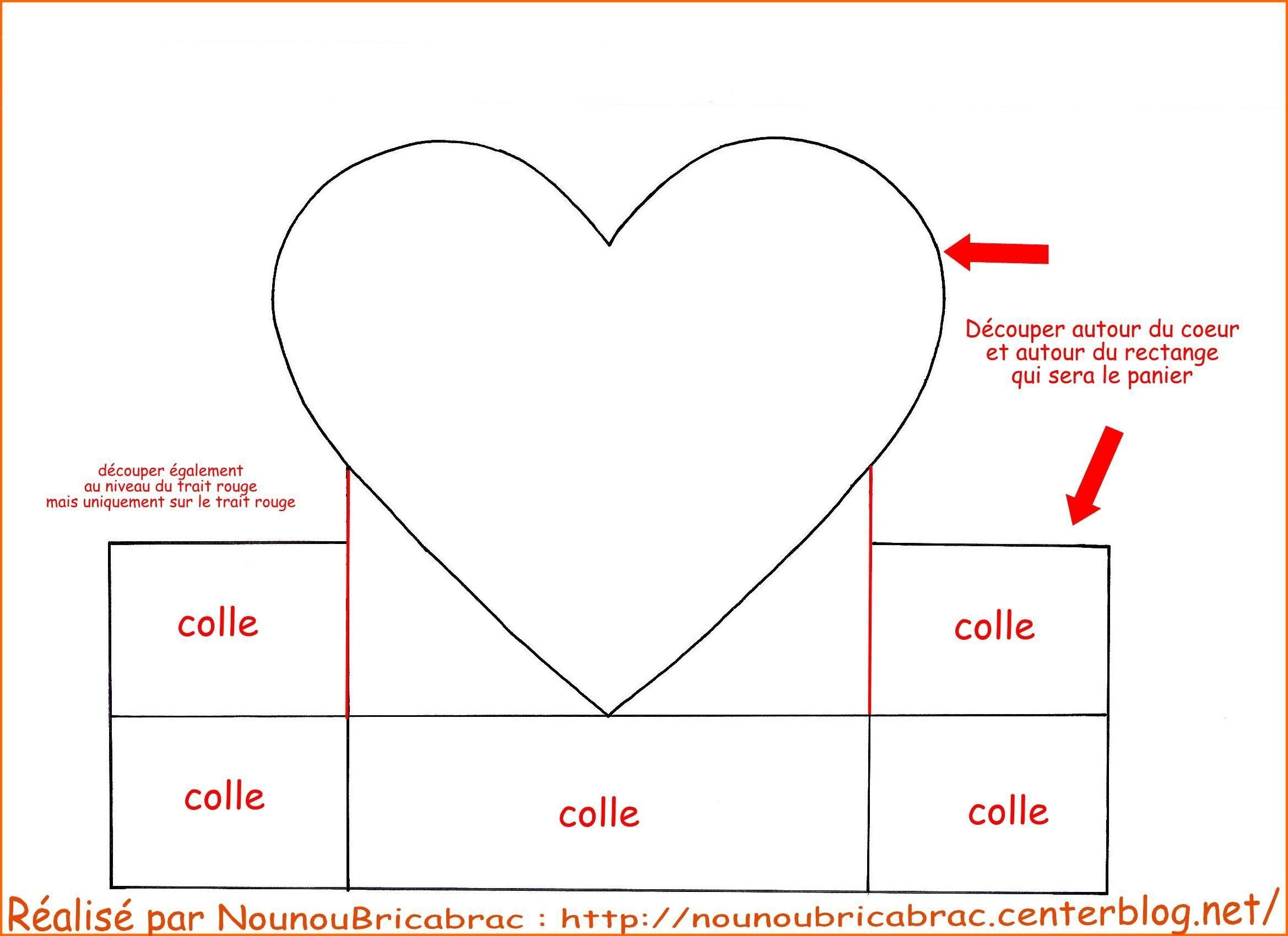 Panier en forme de coeur gabarit 1 avec la anse - Petite boite en carton a faire soi meme ...