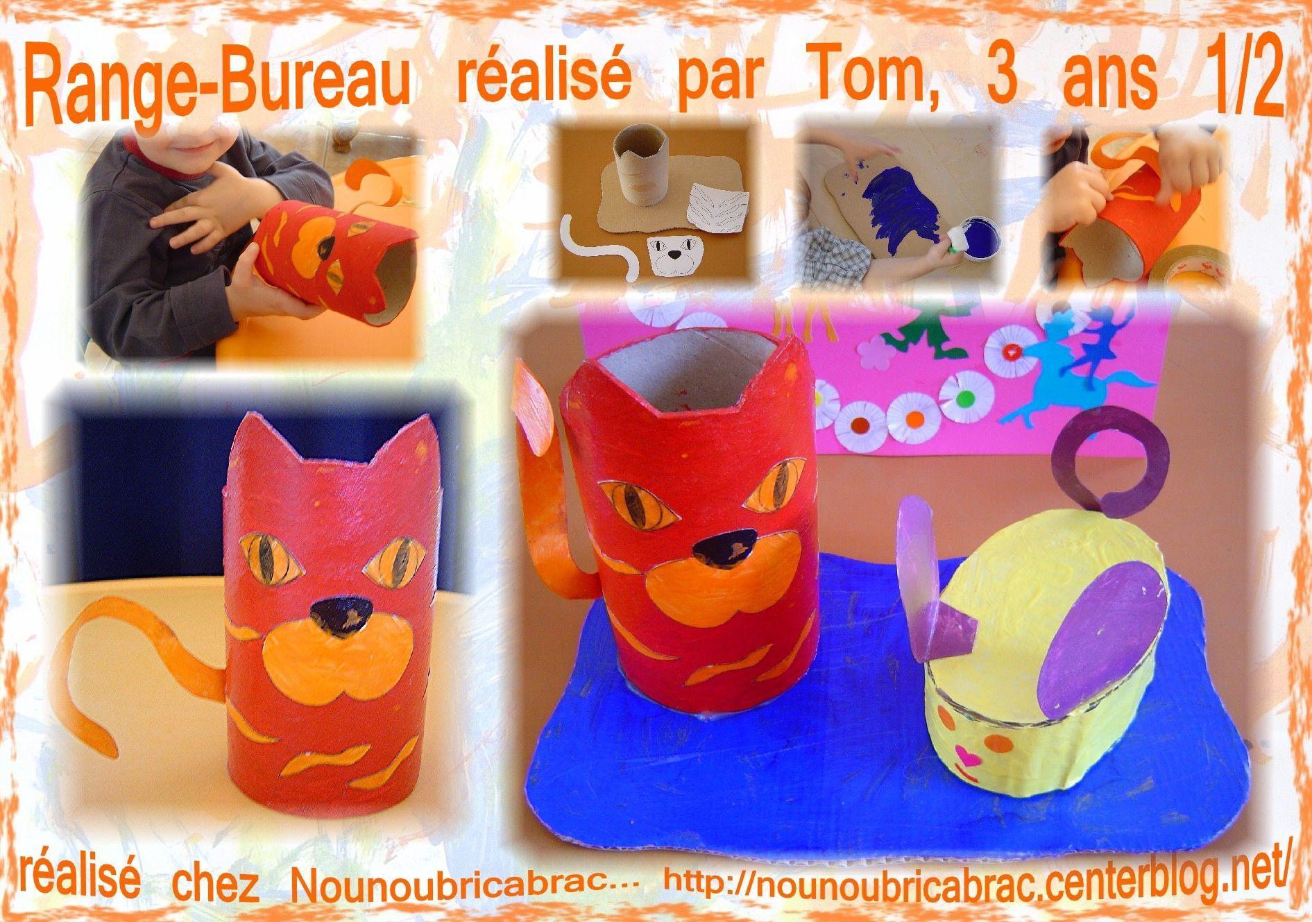 Chat Porte-Crayons et Range Bureau... réalisé par Tom, 3 ans 1/2
