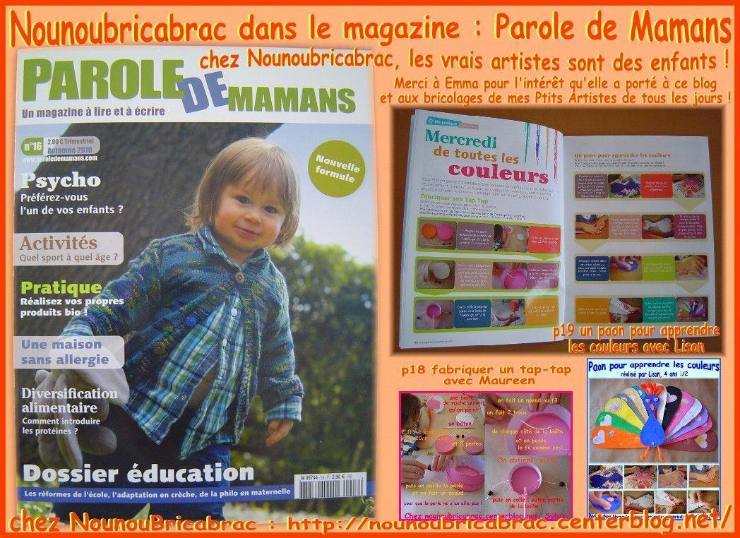Nounoubricabrac dans le magazine de PAROLE DE MAMANS