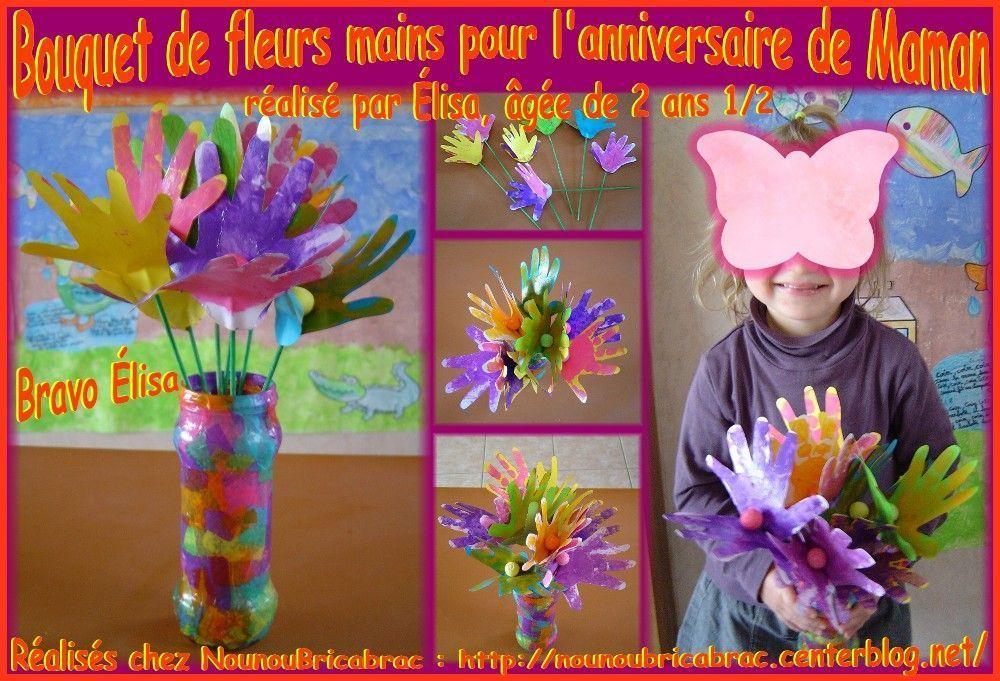 Bouquet de fleurs-mains pour maman réalisé par élisa