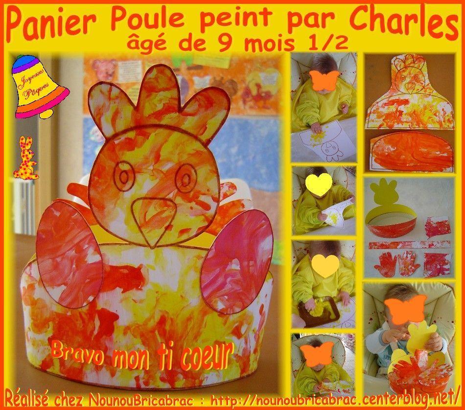 Panier poule de p ques 2 peint par charles 9 mois 1 2 - Panier poule paques ...