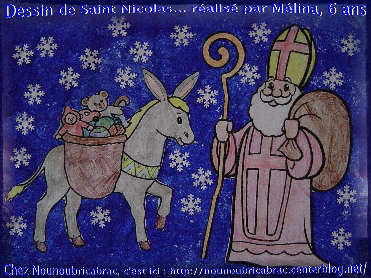 Saint Nicolas et son âne, représentés par Mélina, 6 ans