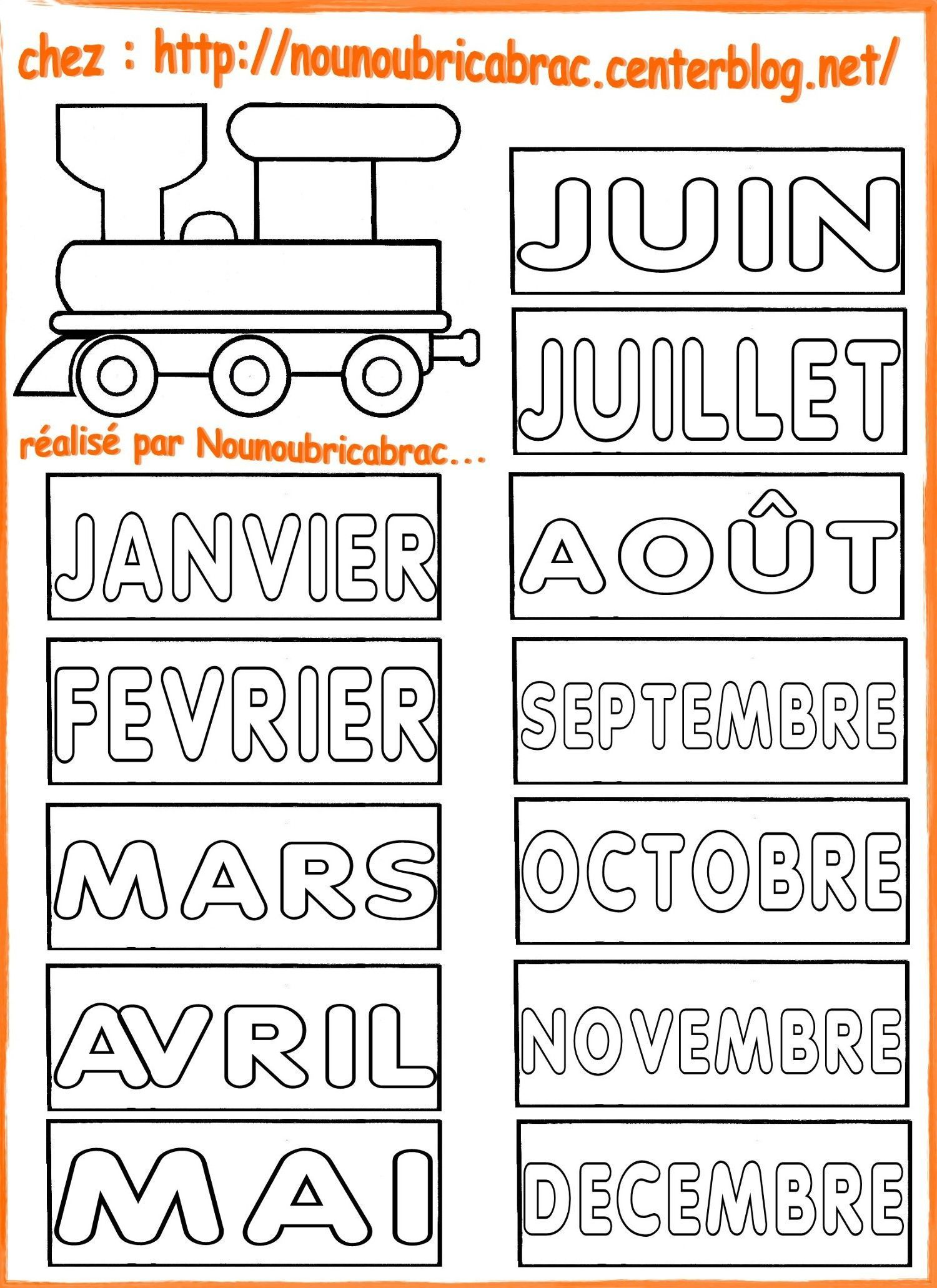 Calendrier pour apprendre ludiquement... la locomotive et les mois