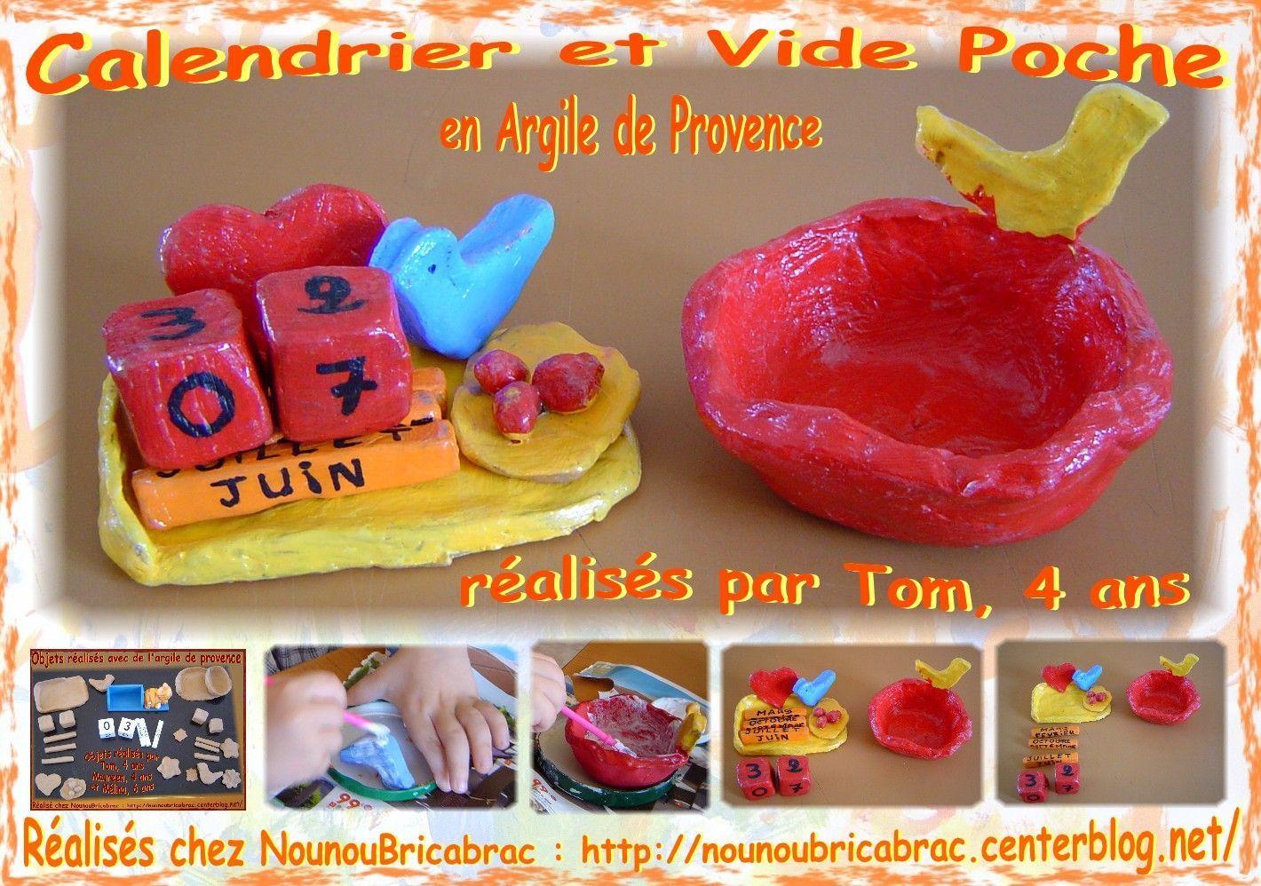 Calendrier et Vide Poche en argile de Provence, réalisés par Tom, 4 ans