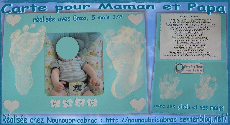 Carte pour Maman et Papa... réalisée avec Enzo, 5 mois 1/2