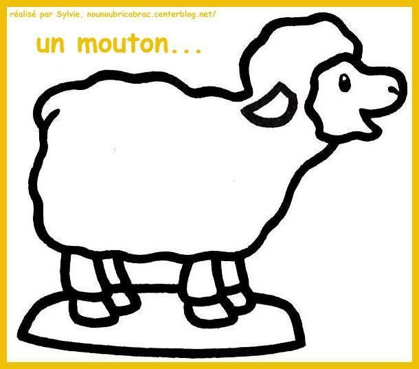 Mouton regardant l'enfant Jésus... à colorier