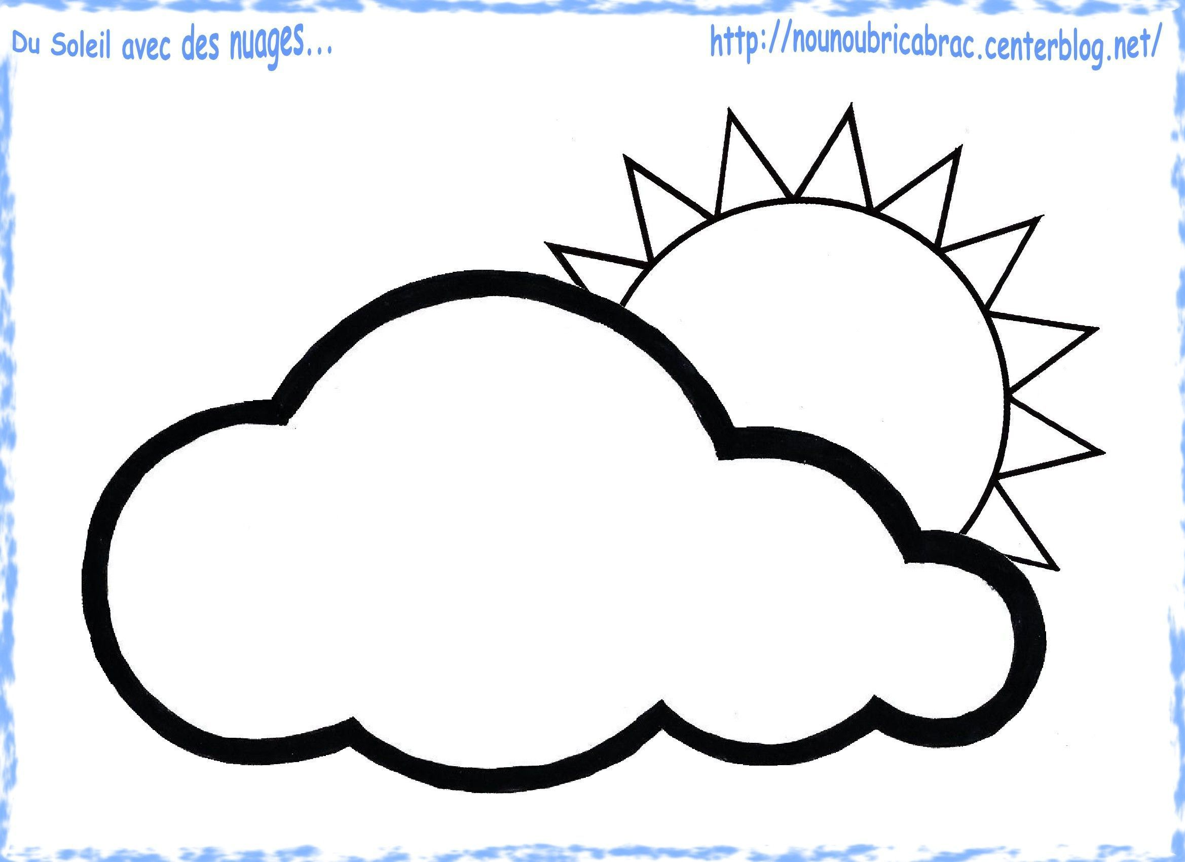 Du Soleil avec un Nuage à colorier... pour notre Grenouille Météo