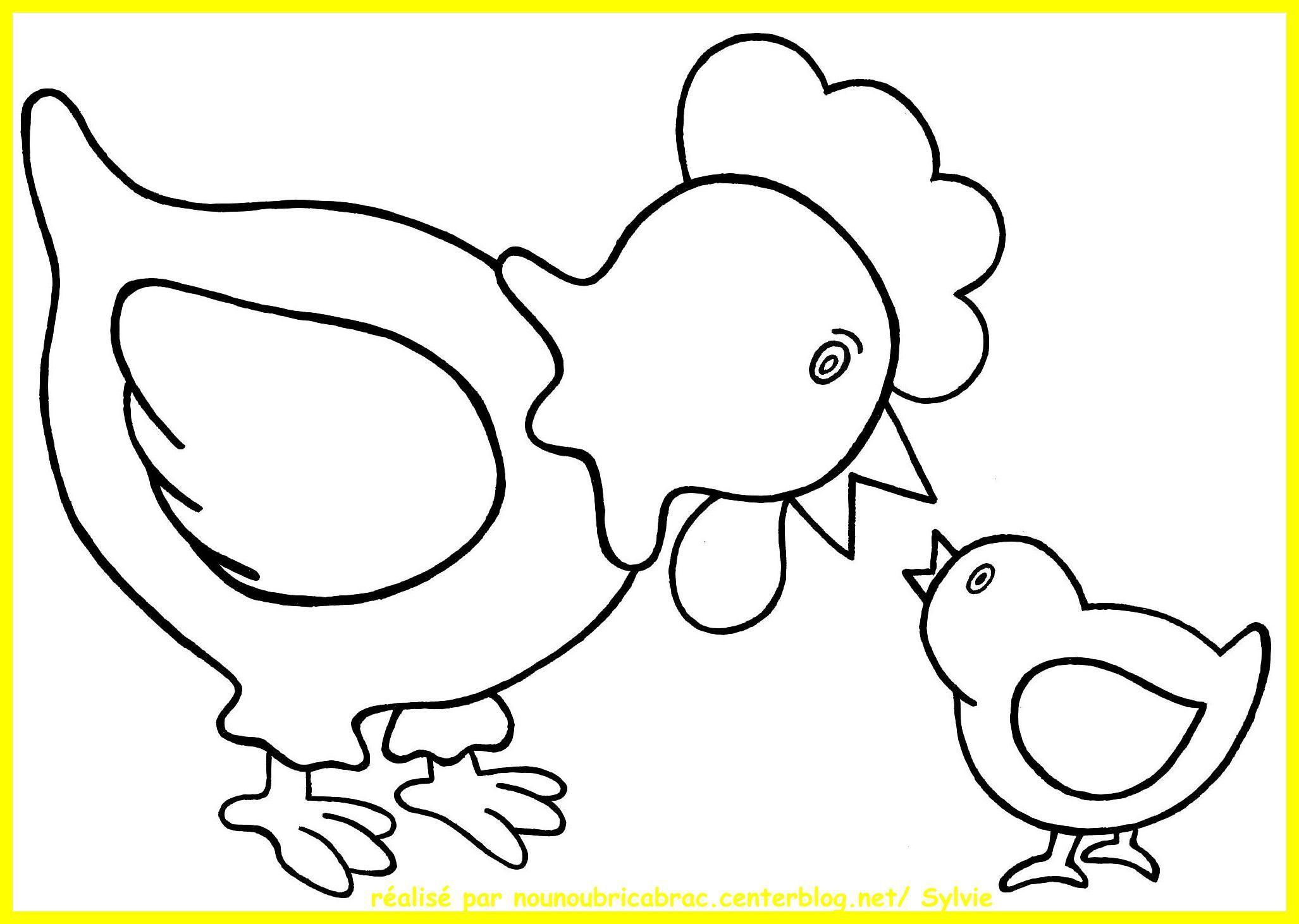 Poule et son poussin colorier dessins de p ques - Dessin de poules ...