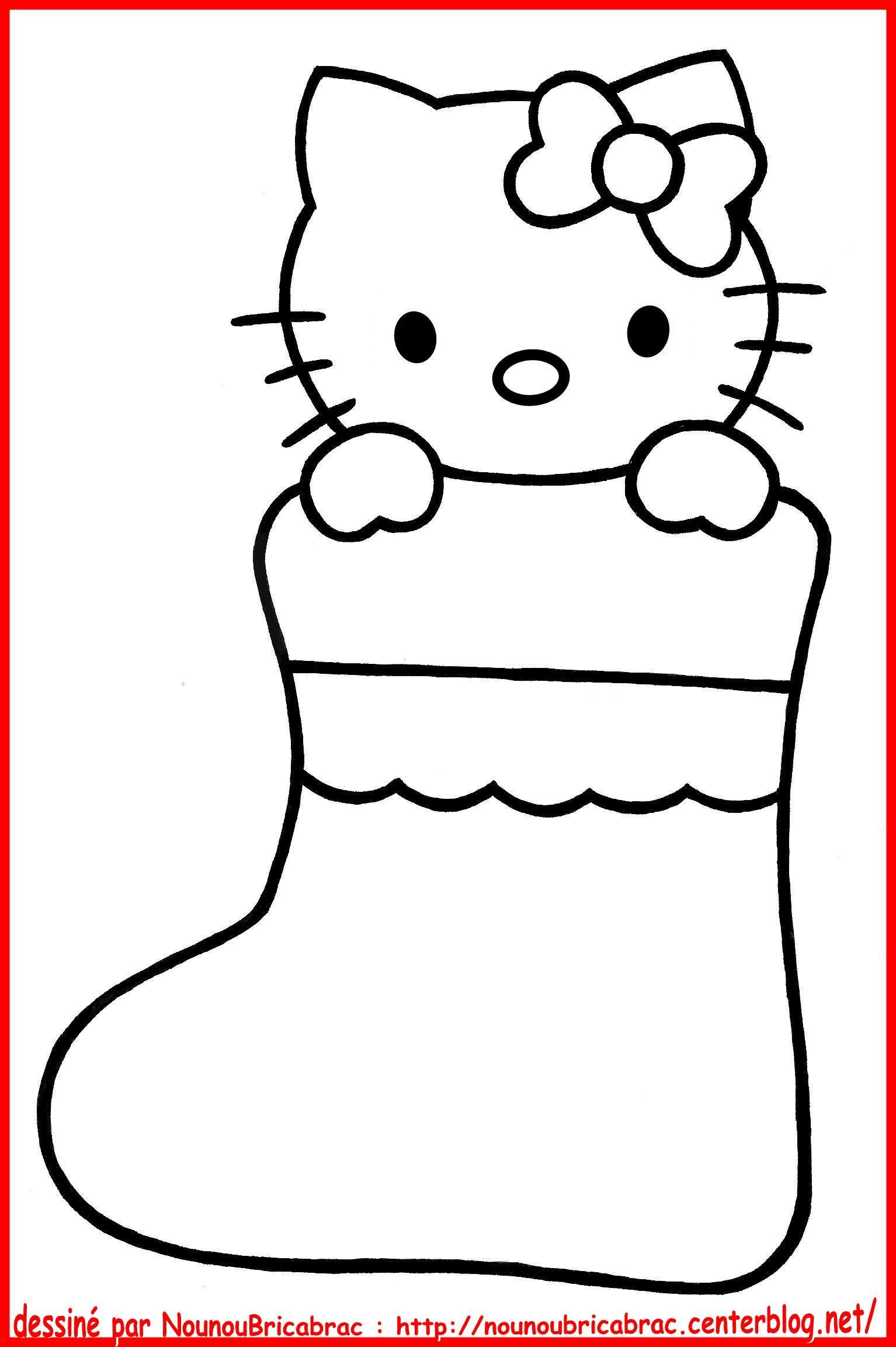 Amazing Comment Dessiner Hello Kitty Facilement #9: Hello Kitty Dans Un Chausson De Noël... à Colorier