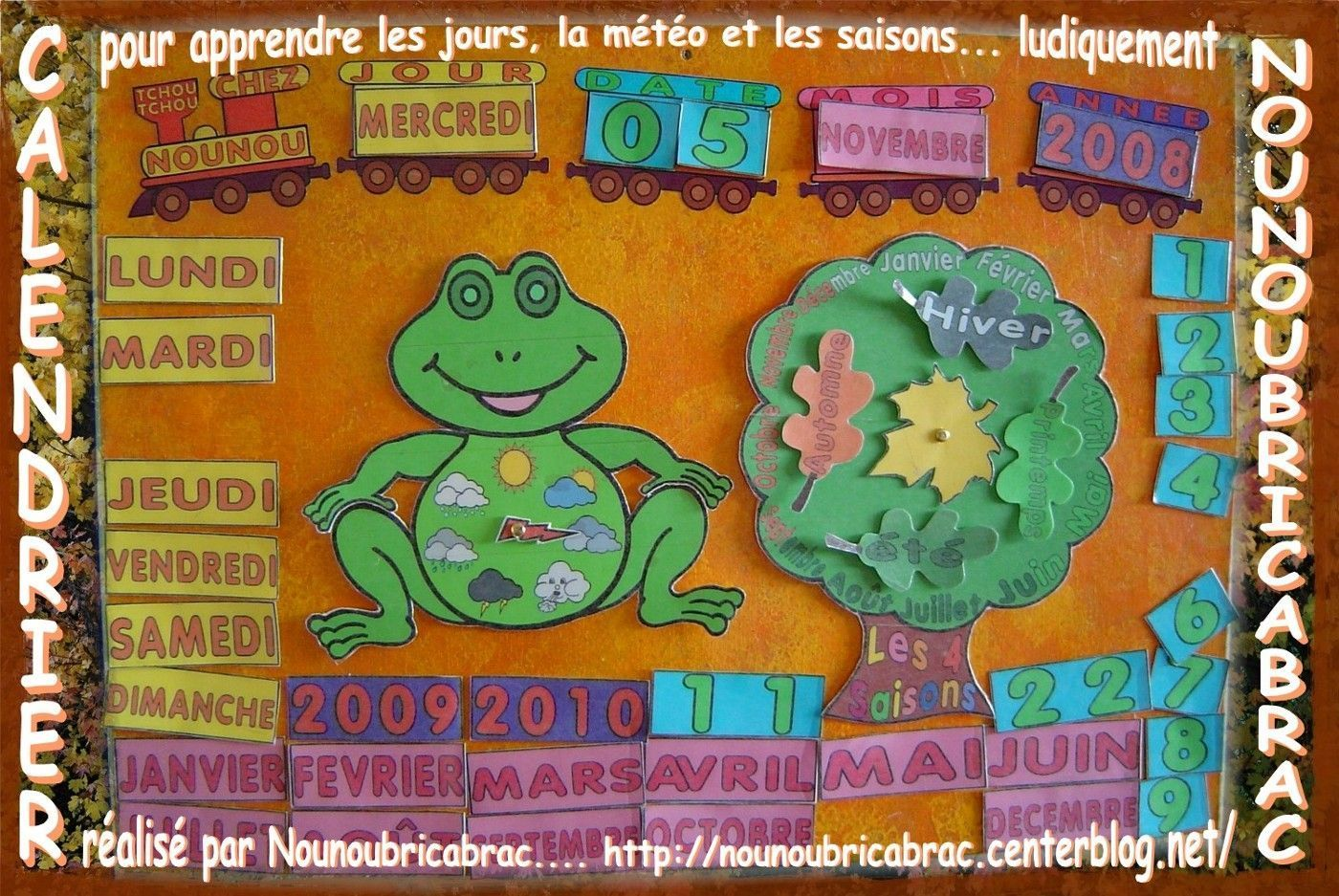 Calendrier pour apprendre les jours, la mto et les saisons... ludiquement