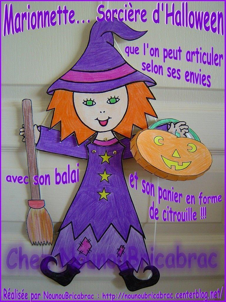 Marionnette : Sorcière d'Halloween avec son balai et son panier... réalisée par Nounoubricabrac
