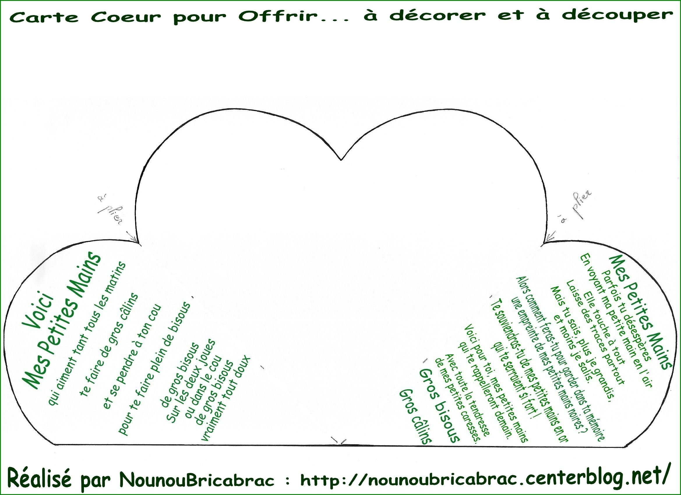 Carte Coeur avec texte *Voici mes mains*... à décorer et à découper